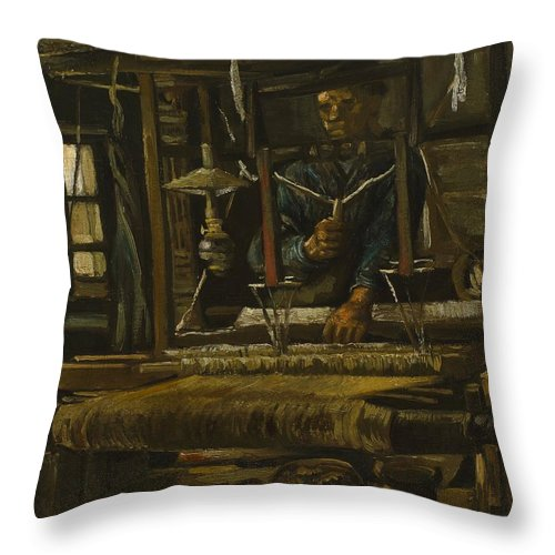 1884 Throw Pillow featuring the painting A Weaver's Cottage by Vincent van Gogh