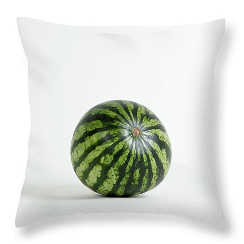 Shadow Throw Pillow featuring the photograph A Whole Ripe Watermelon, Studio Shot by Halfdark
