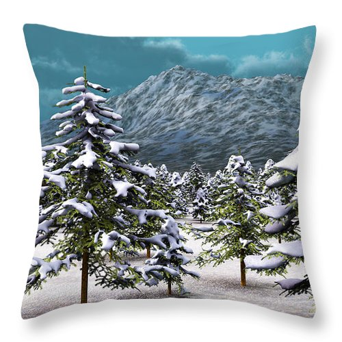 Landscape Throw Pillow featuring the digital art A Winter Scene... by Tim Fillingim