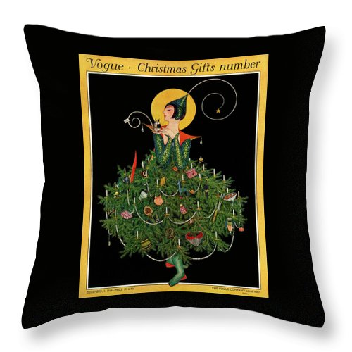 A Woman Dressed As A Christmas Tree Throw Pillow