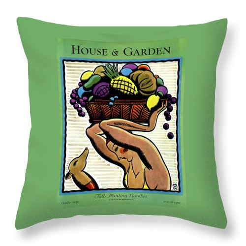 House And Garden Throw Pillow featuring the photograph A Woman Holding A Basket Of Fruit by Marion Wildman