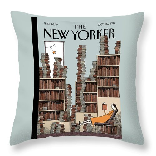 Books Throw Pillow featuring the painting Fall Library by Tom Gauld