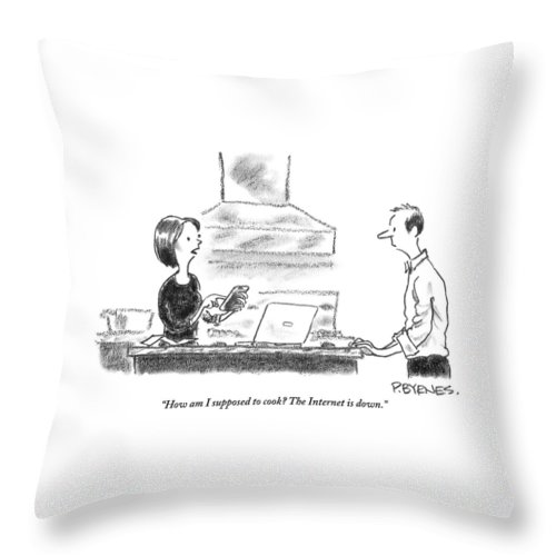 Internet Throw Pillow featuring the drawing A Woman Stands In The Kitchen Helplessly by Pat Byrnes