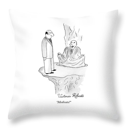 A Yogi Type Is Sitting Cross Legged And A Man Throw Pillow For Sale By Victoria Roberts
