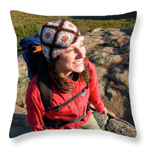 25-35 Years Throw Pillow featuring the photograph A Young Woman Hiking On Cadillac by Justin Bailie