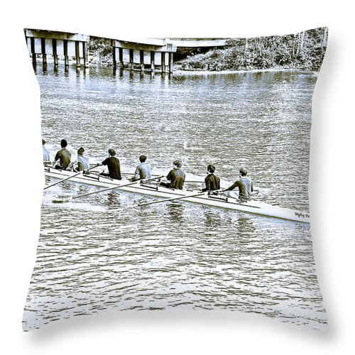 Rowing Throw Pillow featuring the photograph A2230071 Regatta by David Fabian