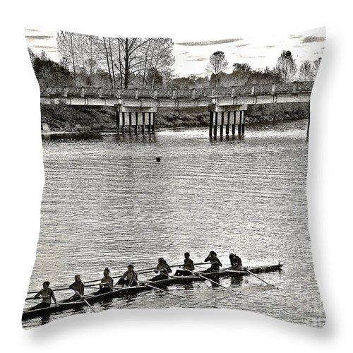 Bridge Throw Pillow featuring the photograph A2230185 Regatta by David Fabian