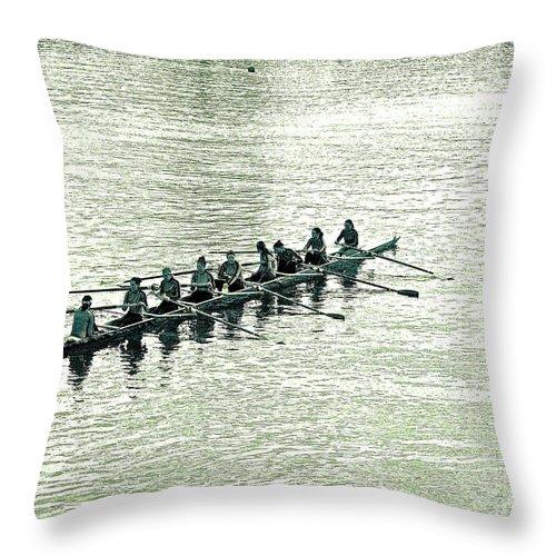 Green And Black Throw Pillow featuring the photograph A2230191 Regatta by David Fabian