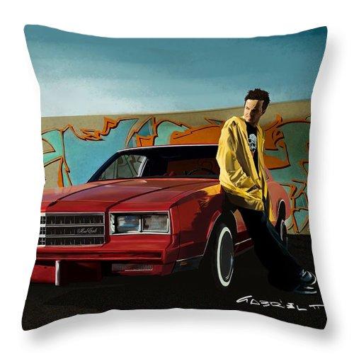 Aaron Paul Throw Pillow featuring the digital art Aaron Paul as Jesse Pinkman @ TV serie Breaking Bad by Gabriel T Toro