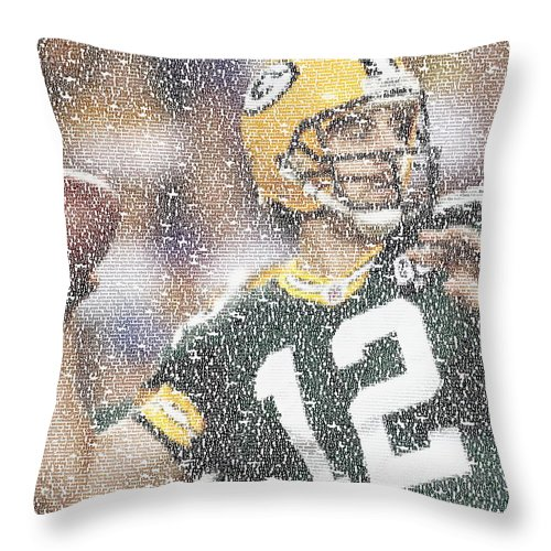 Green Bay Throw Pillow featuring the digital art Aaron Rodgers Quotes Mosaic by Paul Van Scott