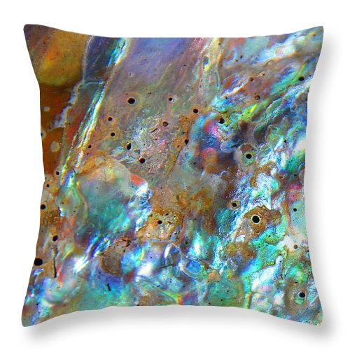 Blues Throw Pillow featuring the photograph Abalone Abstract3 by Kris Hiemstra