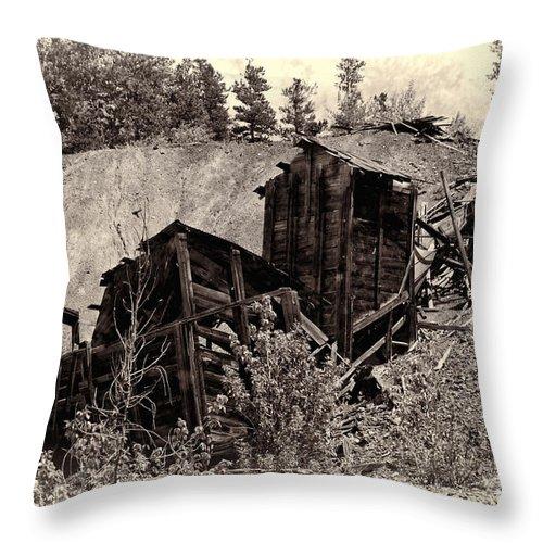 Abandon Mine Throw Pillow featuring the photograph Abandon Montana Mine by David Arment