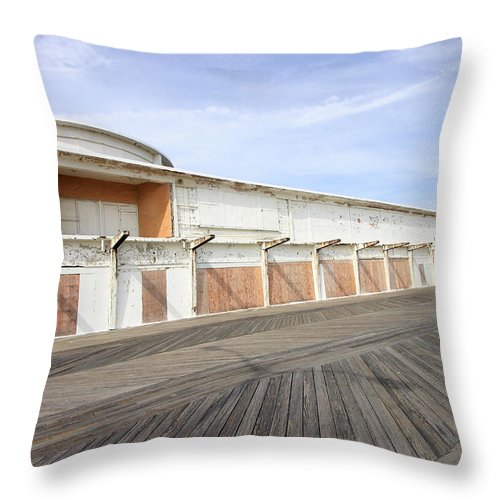 Buildings Throw Pillow featuring the photograph Abandoned At The Boardwalk II by Mary Haber