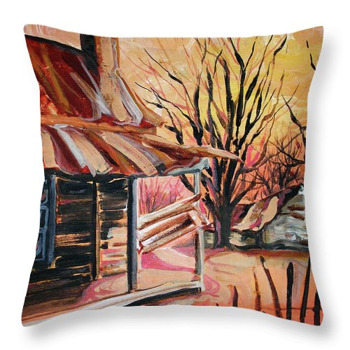 Shack Throw Pillow featuring the painting Abandoned Farm by Lizi Beard-Ward
