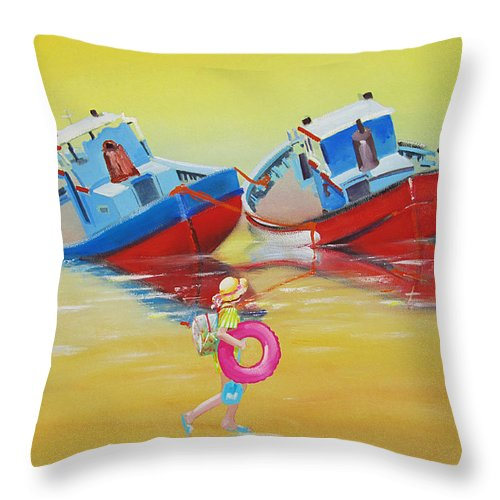 Red Fishing Boats Throw Pillow featuring the painting Abandoned Fishing Boats Tavira by Charles Stuart