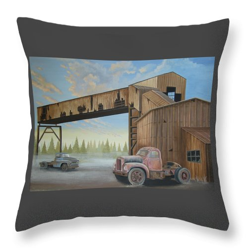 Old Truck Throw Pillow featuring the painting Abandoned Mine by Stuart Swartz