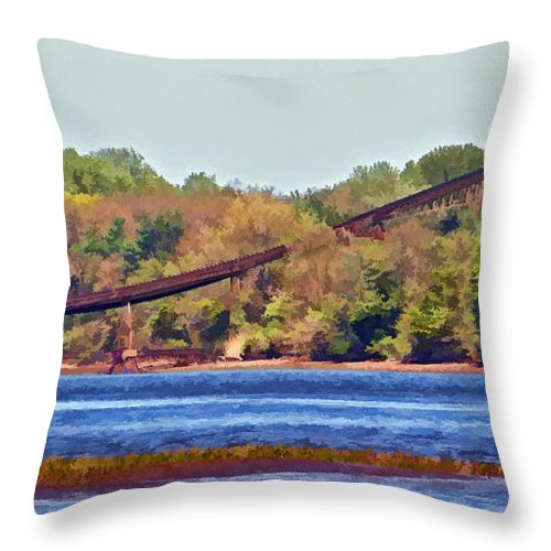 Architecture Throw Pillow featuring the photograph Abandoned On The Delaware River by Dawn Gari