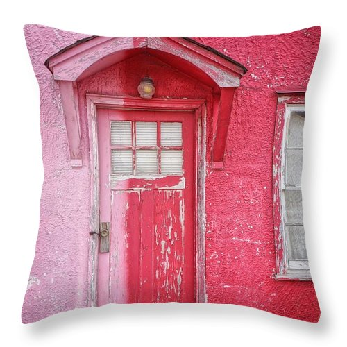 Built Structure Throw Pillow featuring the photograph Abandoned Pink And Red House by Stan Strange / Eyeem