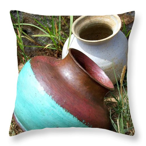 Abandoned Pots Throw Pillow featuring the photograph Abandoned Pots by Mary Deal