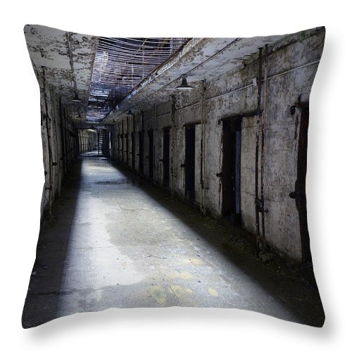 Gate Throw Pillow featuring the photograph Abandoned Prison by Jill Battaglia