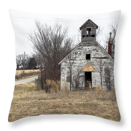 Abandoned Schoolhouse Throw Pillow featuring the photograph Abandoned Schoolhouse by Imagery by Charly