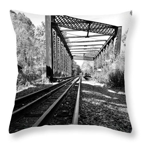 Landscape Throw Pillow featuring the photograph Abandoned Tracks by CJ Rhilinger