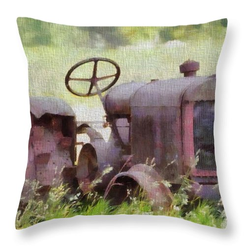 Abandoned Tractor On The Farm Throw Pillow featuring the painting Abandoned Tractor On The Farm by Dan Sproul