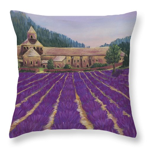 Malakhova Throw Pillow featuring the painting Abbaye Notre-dame De Senanque by Anastasiya Malakhova