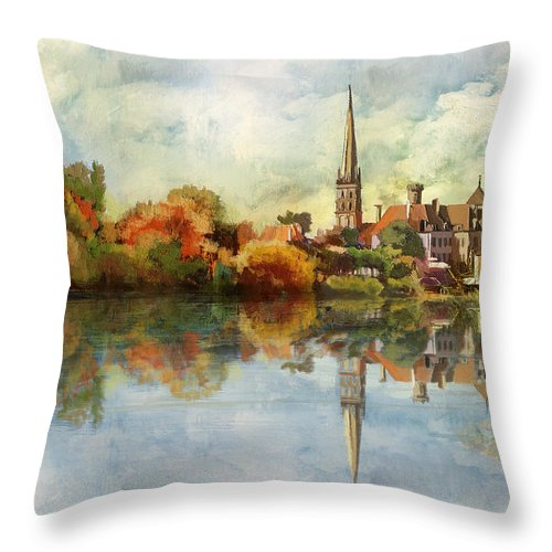 Western Ghats Throw Pillow featuring the painting Abbey Church Of Saint Savin Sur Gartempe by Catf