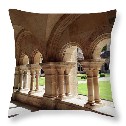 Cloister Vault Throw Pillow featuring the photograph Abbey Fontenay - Cloister Vault by Christiane Schulze Art And Photography