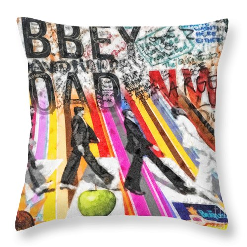 Abbey Road Throw Pillow featuring the mixed media Abbey Road by Mo T