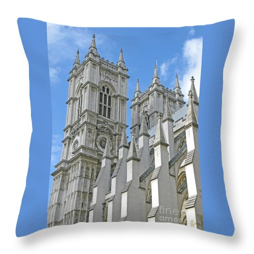 London Throw Pillow featuring the photograph Abbey Towers by Ann Horn