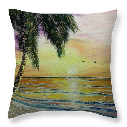 Landscape Throw Pillow featuring the painting Abbey's Beach by Don Bowling