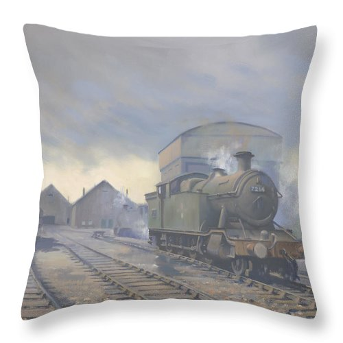 Train Throw Pillow featuring the painting Aberdare engine shed by Richard Picton