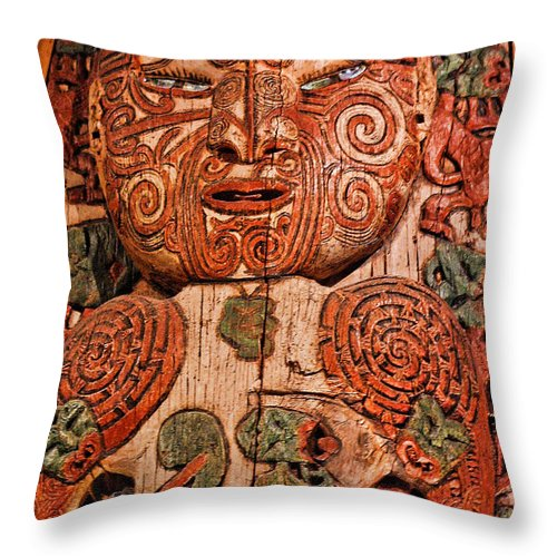 Foreign Throw Pillow featuring the photograph Aborigine Carved Figure by Linda Phelps