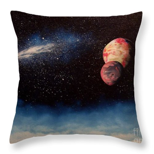 Landscape Throw Pillow featuring the painting Above Alien Clouds by Murphy Elliott