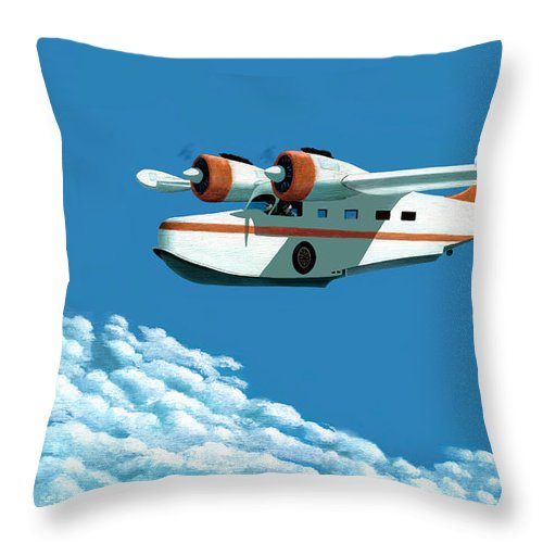 G-21 Throw Pillow featuring the painting Above It All The Grumman Goose by Gary Giacomelli