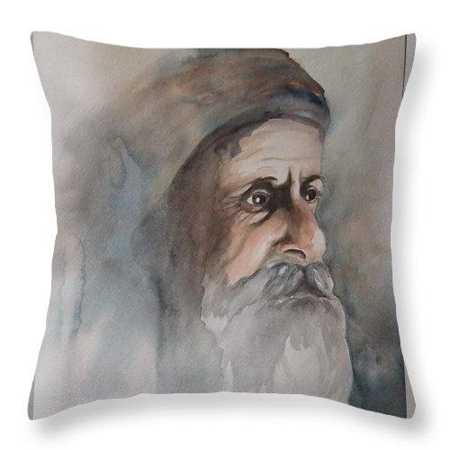 Abraham Throw Pillow featuring the painting Abraham by Annemeet Hasidi- van der Leij