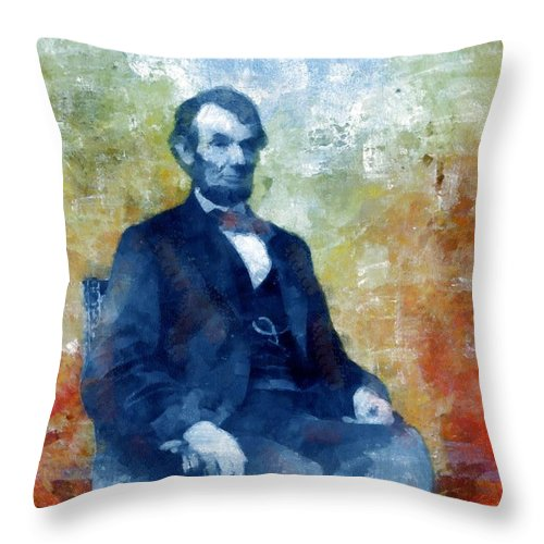 Lincoln Throw Pillow featuring the painting Abraham Lincoln 16th President Of The U.s.a. by Tyler Robbins