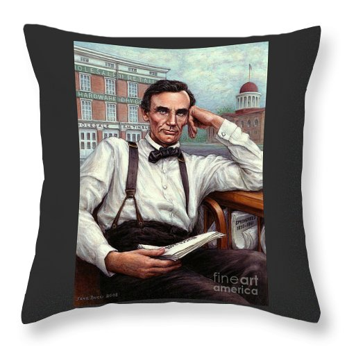 Occupy China Throw Pillow featuring the painting Abraham Lincoln Of Springfield Bicentennial Portrait by Jane Bucci