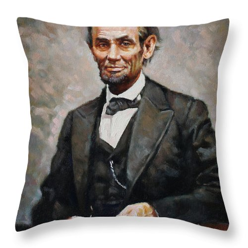 Abraham Lincoln Throw Pillow featuring the painting Abraham Lincoln by Ylli Haruni