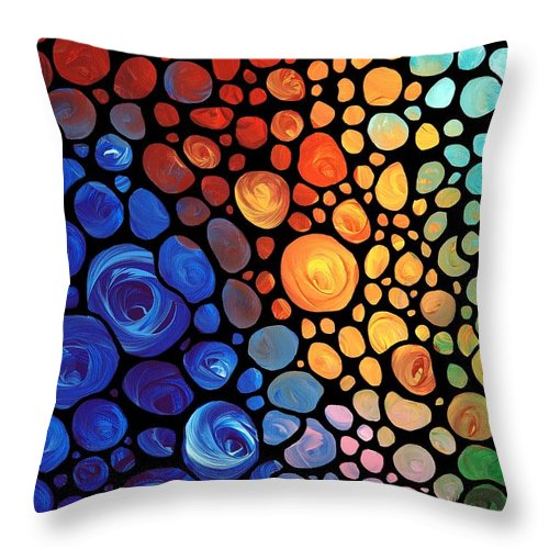 Mosaic Throw Pillow featuring the painting Abstract 1 - Colorful Mosaic Art - Sharon Cummings by Sharon Cummings