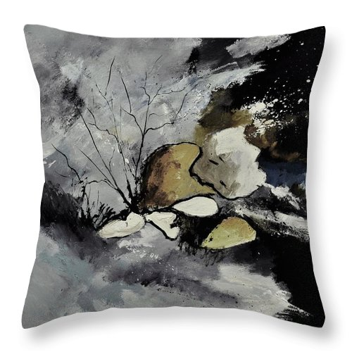 Abstract Throw Pillow featuring the painting Abstract 1189963 by Pol Ledent
