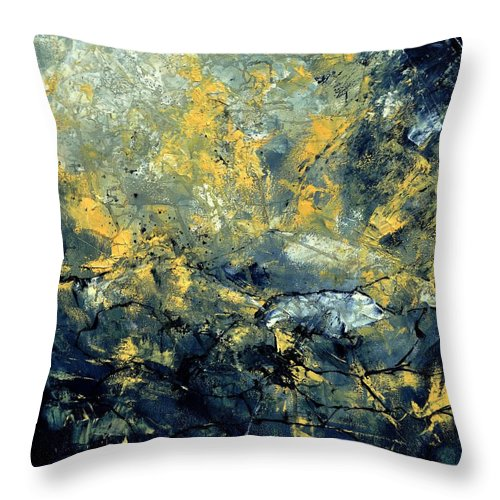 Abstract Throw Pillow featuring the painting Abstract 8313061 by Pol Ledent