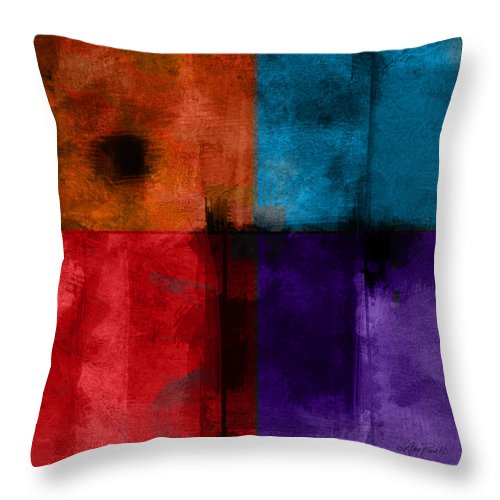 Abstract Throw Pillow featuring the digital art abstract - art- Color Block Square by Ann Powell