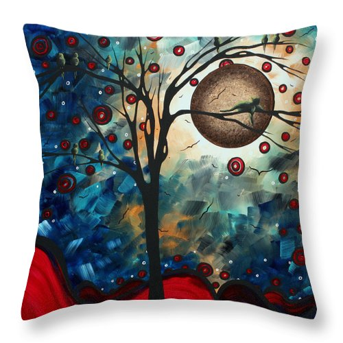 Abstract Throw Pillow featuring the painting Abstract Art Contemporary Cat Bird Circle Of Life Collection Cat Perch By Madart by Megan Duncanson