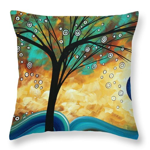 Art Throw Pillow featuring the painting Abstract Art Contemporary Painting Summer Blooms By Madart by Megan Duncanson