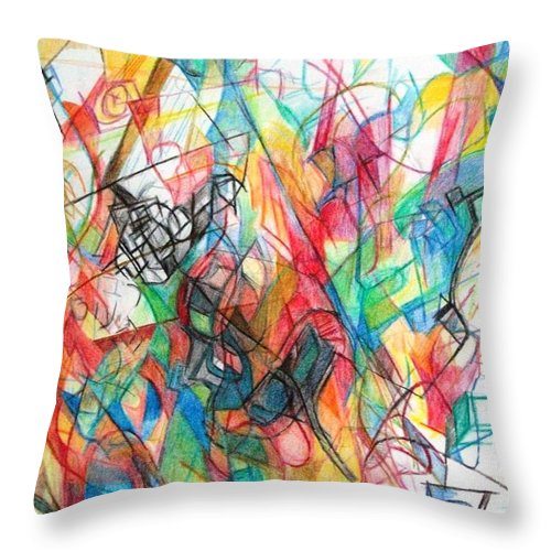 Torah Throw Pillow featuring the drawing Abstract Art Focused Inward Towards The Divine 4 by David Baruch Wolk