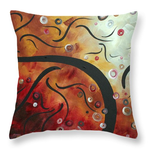 Abstract Throw Pillow featuring the painting Abstract Art Original Circle Landscape By Madart by Megan Duncanson