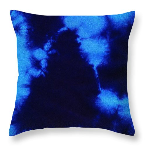 Batik Throw Pillow featuring the tapestry - textile Abstract Blue Batik Pattern by Kerstin Ivarsson